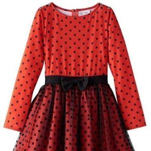 D-Signed Girl Long Sleeve Minnie Polka Dot Dress M